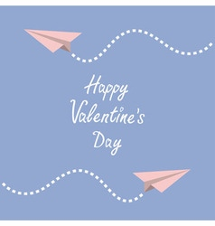 Happy Valentines Day Love card Two origami paper vector image vector image