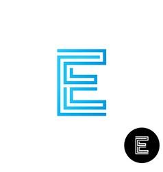 Letter E maze linear style logo vector image vector image