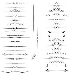 Set decorative design elements calligraphic vector image vector image