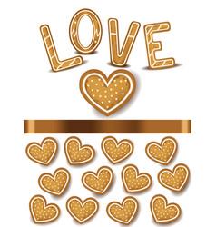 heart shape cookies realistic vector image vector image