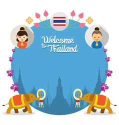 Kids and Elephant Welcome to Thailand Frame vector image