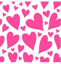 pink hearts seamless patter vector image