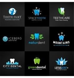 Set of dental logos tooth designs Teeth vector image vector image