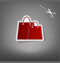 shopping bags sign red icon with for vector image vector image