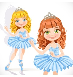 Beautiful little ballerina girl in tiara and blue vector