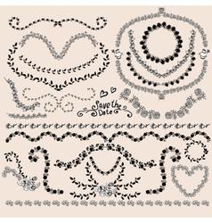 Floral Monochrome Design Laurels Wreaths Frame vector image vector image