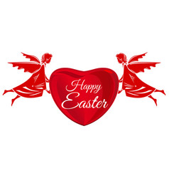 happy easter angels big red heart with greeting vector image