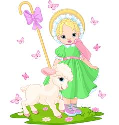 little shepherdess vector image vector image