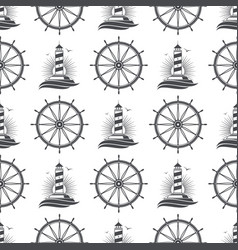 Marine nautical seamless pattern design with vector