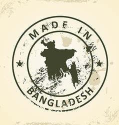Stamp with map of Bangladesh vector image vector image