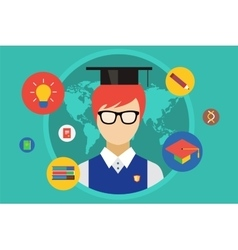 Student and university objects vector image