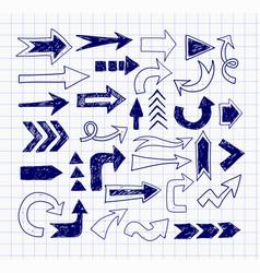 doodle pen sketch arrows on lined paper vector image