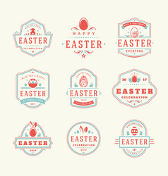 easter badges and labels design elements vector image vector image