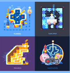 Gamification motivation concept flat square vector