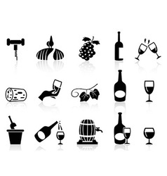 Grape wine icons set vector