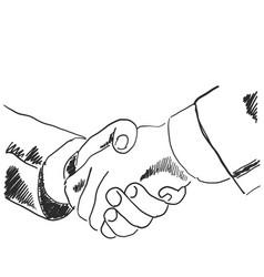 hand drawn sketch of a handshake vector image