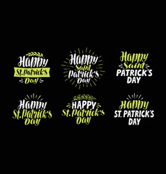 happy saint patricks day label set beer festival vector image vector image