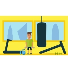 Healthy lifestyle classes at the gym flat style vector