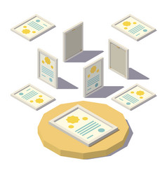 isometric diploma in the frame vector image vector image