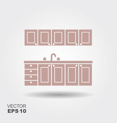 kitchen modern furniture icon vector image vector image