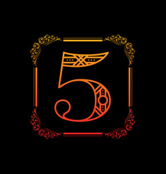 number 5 with ornament vector image