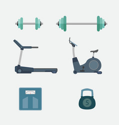 set of fitness tool body building vector image vector image