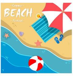 summer beach festival beach umbrella chair backgro vector image