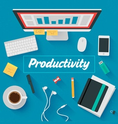 Trendy Flat Design Productive office vector image
