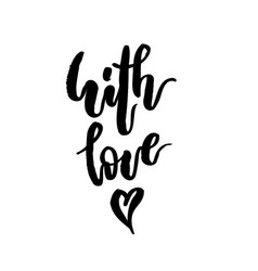 with love hand written lettering vector image