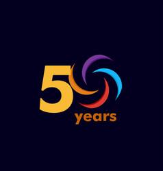 50 year anniversary rainbow template design vector