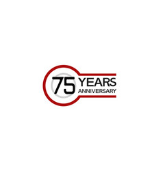 75 years anniversary with circle outline red vector