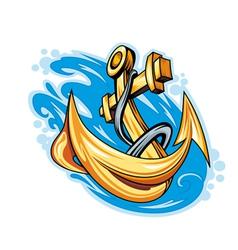 Anchor in sea water vector