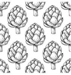 artichoke hand drawn seamless pattern vector image