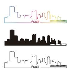 Austin skyline linear style with rainbow vector