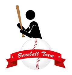 baseball sport with player silhouette and ball vector image