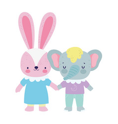 Bashower cute little elephant and rabbit with vector