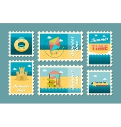 Beach entertainment stamp set Summer Vacation vector