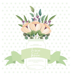beautiful flowers leaves in glass vase decoration vector image