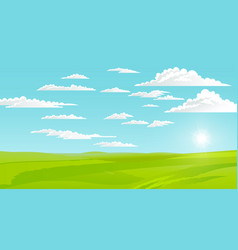 beautiful landscape with green lawn and skyline vector image