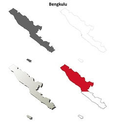 Bengkulu blank outline map set vector