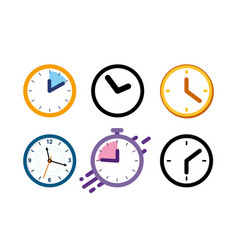 Big set different color clock icons alarm vector