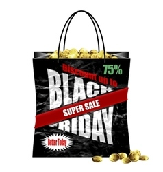 Black Friday paper shopping bag vector