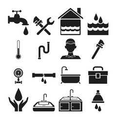 Black silhouette plumbing icons set on white vector