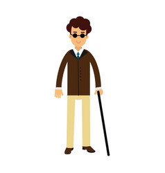 Blind young man in dark glasses and walking stick vector