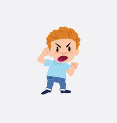 Blond boy in jeans screams angry in aggressive vector