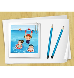 Bondpapers with a frame and pencils vector image