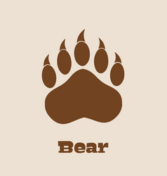Brown bear paw with claws vector