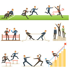Business competition set of with vector