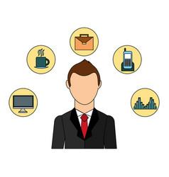 Businessman elegant with set icons avatar vector