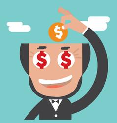 businessman keeps coin in bald head vector image